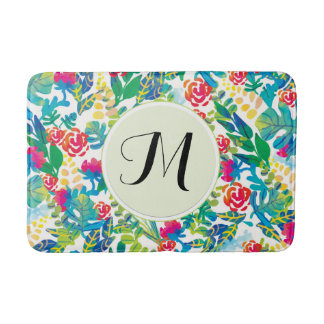 Jungle Watercolor Flowers Floral Fine Monogram Bath Mat