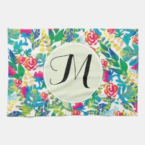 Jungle Watercolor Flowers Floral Fine Monogram Tea Towel