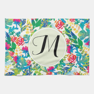 Jungle Watercolor Flowers Floral Fine Monogram Tea Towel