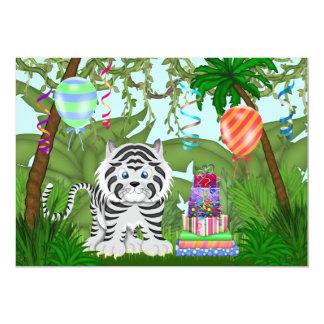 Jungle White Tiger Birthday Party Invitation