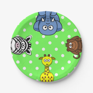 Jungle wild animal green polka dot baby paper plate