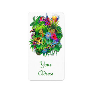 Jungle Wild Animals and Plants Label