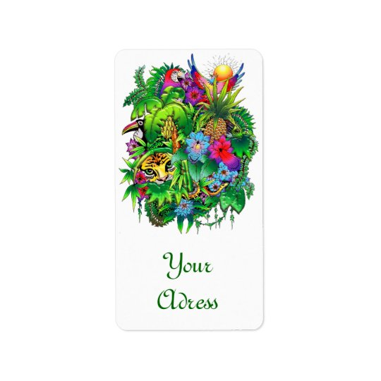 Jungle Wild Animals and Plants Label Address Label