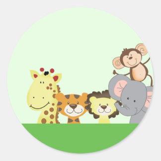 JUNGLE ZOO PARTY Envelope Seals - Green Round Sticker