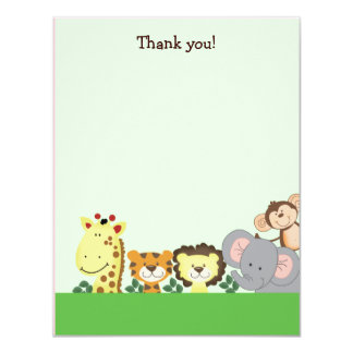 JUNGLE ZOO PARTY (Green) 4x5 Flat Thank you note 11 Cm X 14 Cm Invitation Card