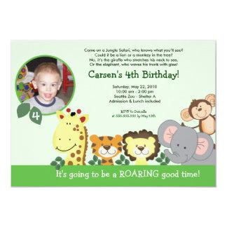Jungle Zoo Party Green Animal Photo Birthday Card 13 Cm X 18 Cm Invitation Card
