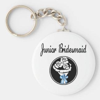 Junior Bridesmaid Basic Round Button Key Ring