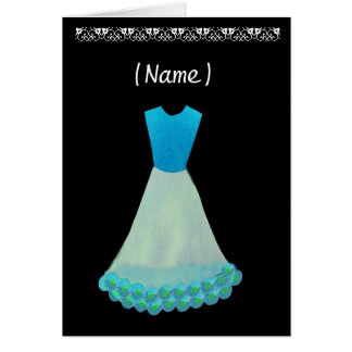 Junior Bridesmaid Blue & White Gown Flowered Trim Greeting Card