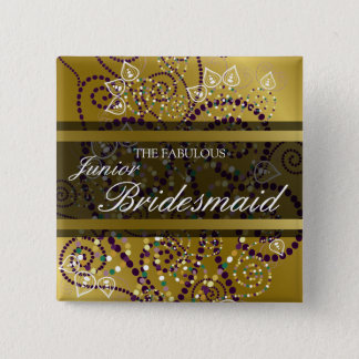 JUNIOR BRIDESMAID Boho Spirals Gold Wedding Button