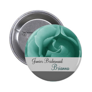 JUNIOR BRIDESMAID Button with MINT GREEN Rose