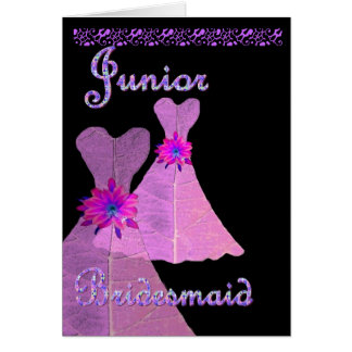 Junior Bridesmaid Invitation PINK Gown Greeting Card