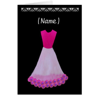 Junior Bridesmaid Pink & White Gown Flowered Trim Greeting Card