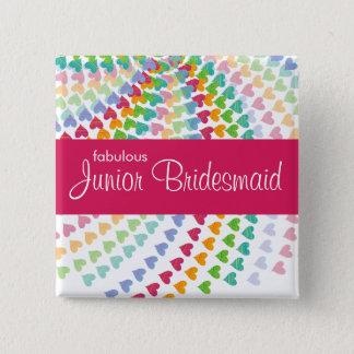 JUNIOR BRIDESMAID Rainbow Sprinkles Wedding Button