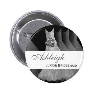 JUNIOR BRIDESMAID Silver Gowns F203A 6 Cm Round Badge