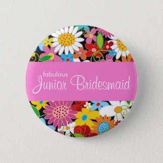 JUNIOR BRIDESMAID Spring Flowers Wedding Name Tag 6 Cm Round Badge