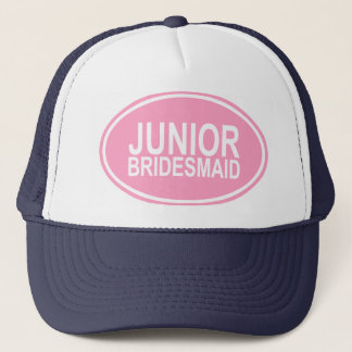 Junior Bridesmaid Wedding Oval Pink Trucker Hat