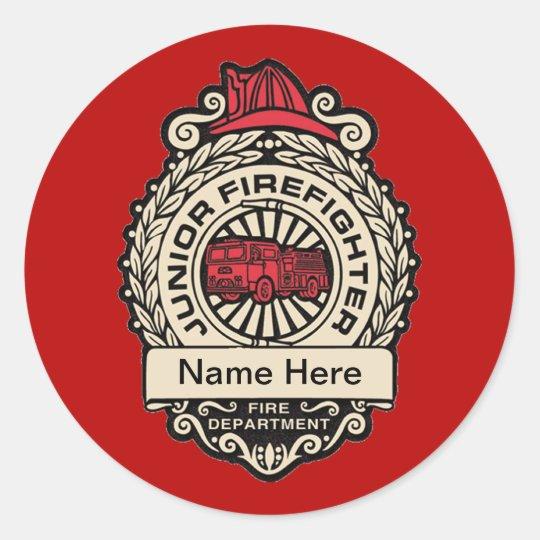 Junior Firefighter's Badge Custom Sticker