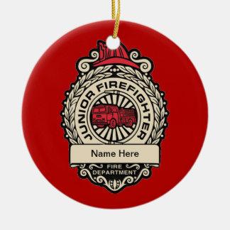 Junior Firefighter's Badge Round Ceramic Decoration
