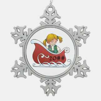 Junior Sled Blonde Snowflake Pewter Christmas Ornament