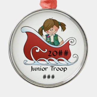 Junior Sled Brunette Christmas Ornament
