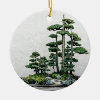 Juniper Bonsai Forest Round Ceramic Decoration