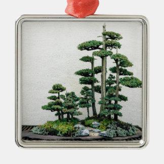 Juniper Bonsai Forest Silver-Colored Square Decoration