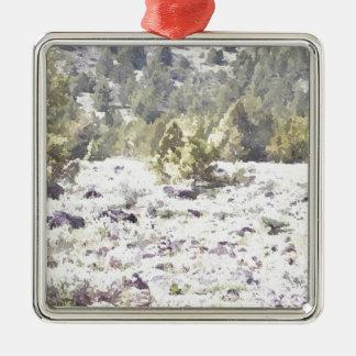 Junipers and Lava Rock in Watercolor Silver-Colored Square Decoration