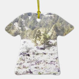 Junipers and Lava Rock in Watercolor Ceramic T-Shirt Decoration