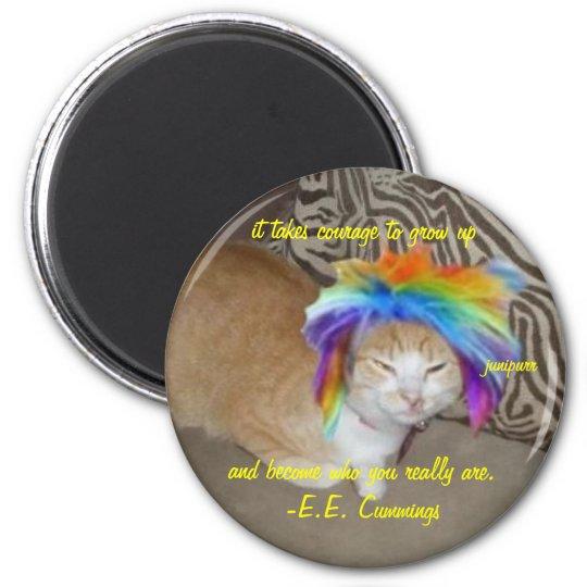 junipurr courage keychain 6 cm round magnet