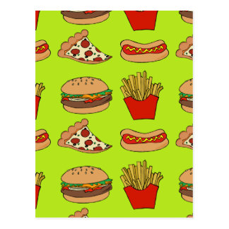 Junk food design postcard