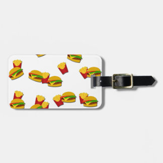 Junk food pattern luggage tag