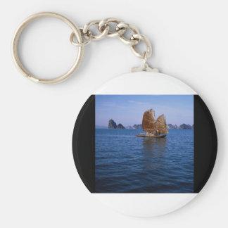Junk sailing through Ha Long Bay, Vietnam Key Ring