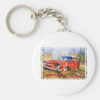 Junk Yard Memories Red Corvair Station Wag Basic Round Button Key Ring
