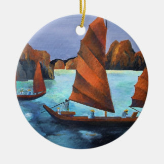 Junks In The Descending Dragon Bay Round Ceramic Decoration