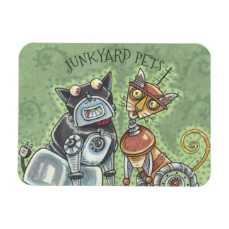Junkyard Cat And Dog Robots MAGNET *Customize