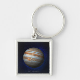 Jupiter 4 Silver-Colored square key ring