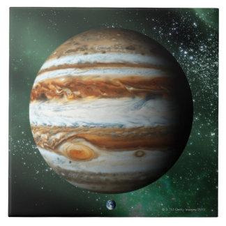 Jupiter and Earth Comparison Large Square Tile