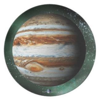 Jupiter and Earth Comparison Plate