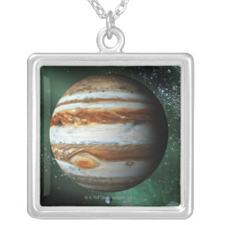 Jupiter and Earth Comparison Silver Plated Necklace