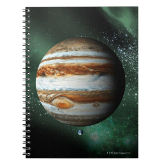 Jupiter and Earth Comparison Spiral Notebook