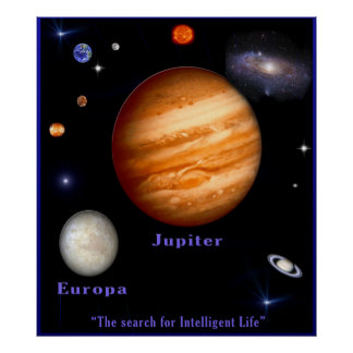 Jupiter and Europa Poster