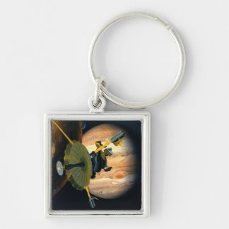 Jupiter and Lo Silver-Colored Square Key Ring