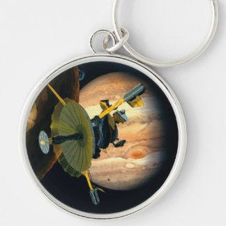 Jupiter and Lo Silver-Colored Round Key Ring
