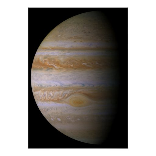 Jupiter as seen by the space probe Cassini Poster