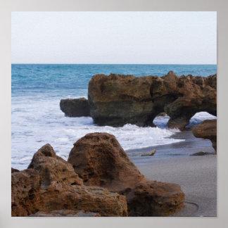Jupiter Beach Florida Poster- Blowing Rocks Beach Poster