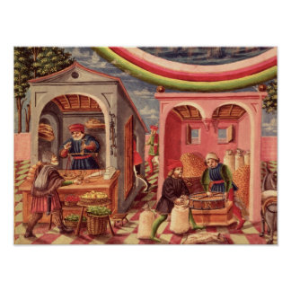 Jupiter, detail of fruit and grain merchants poster
