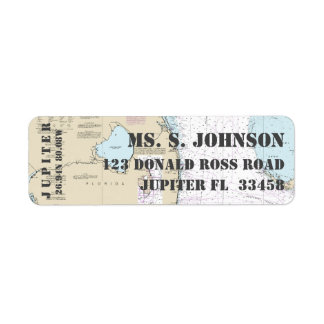 Jupiter FL Home Port Nautical Navigation Chart Return Address Label