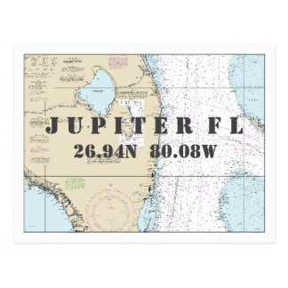 Jupiter FL Nautical Chart Latitude Longitude Postcard