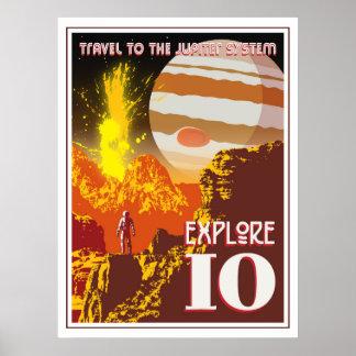 Jupiter Io Space Travel Illustration Poster
