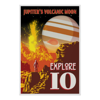 Jupiter Io Space Travel Illustration Poster
